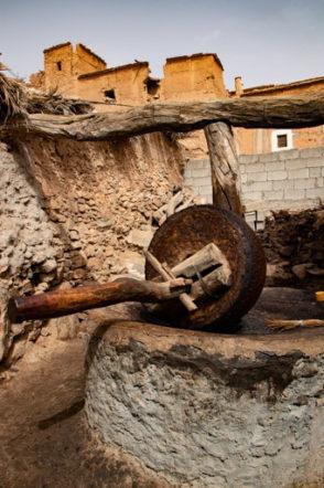 アイト・マンスールの廃村のオリーブオイル搾油機。